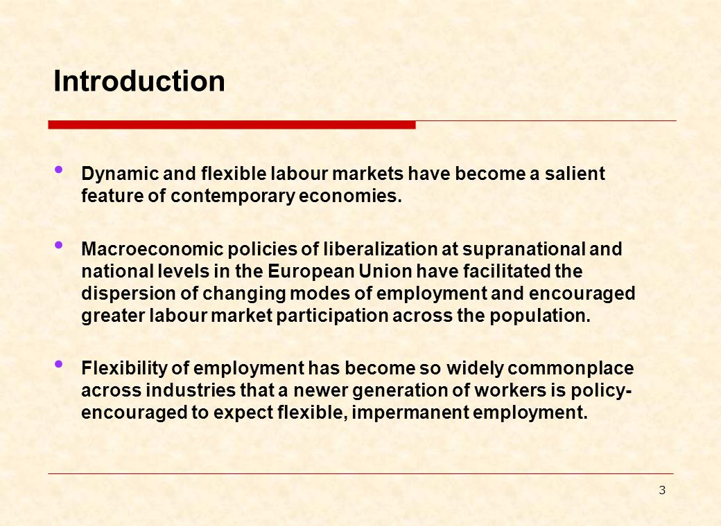 3 Introduction Dynamic and flexible labour markets have become a salient feature of contemporary economies.