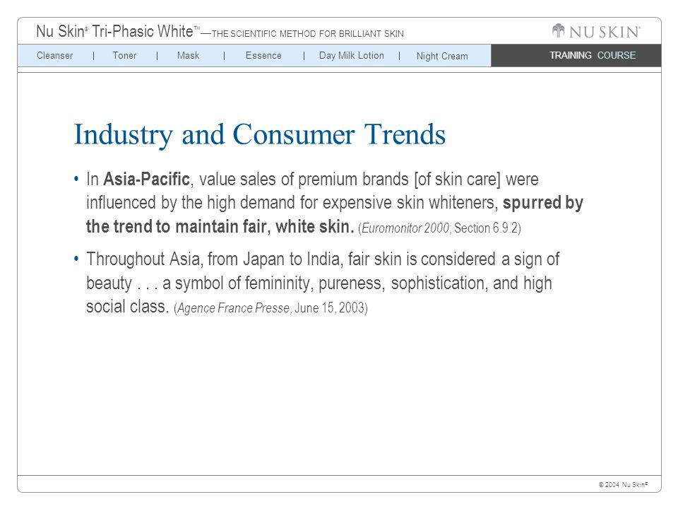 © 2004 Nu Skin ® TRAINING COURSE CleanserTonerMaskEssenceDay Milk Lotion Nu Skin ® Tri-Phasic White ™ — THE SCIENTIFIC METHOD FOR BRILLIANT SKIN Night Cream Industry and Consumer Trends In Asia-Pacific, value sales of premium brands [of skin care] were influenced by the high demand for expensive skin whiteners, spurred by the trend to maintain fair, white skin.