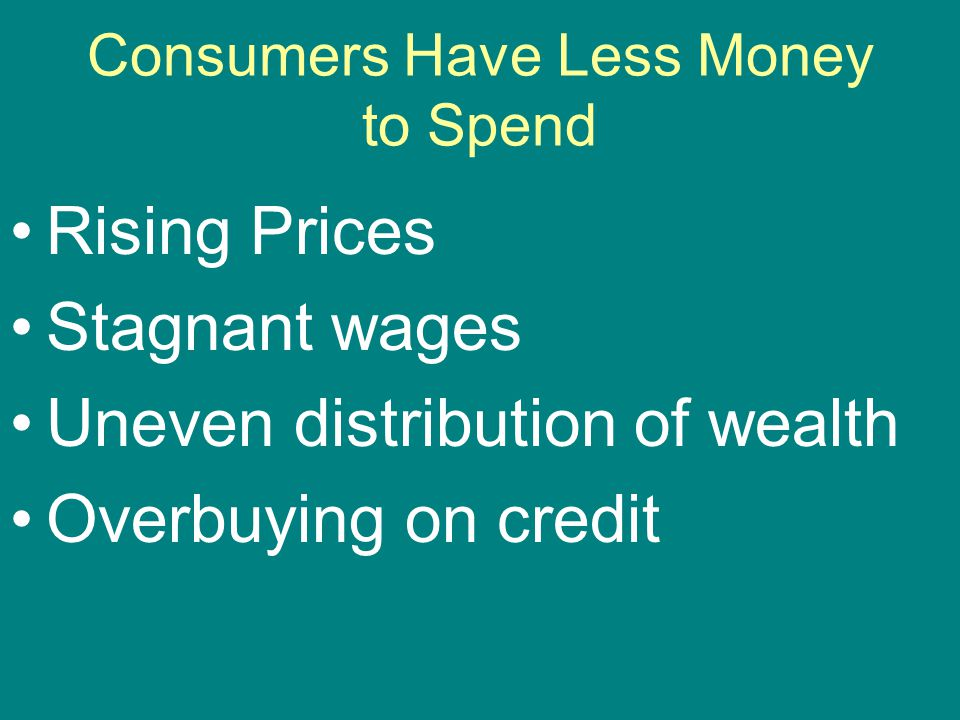Consumers Have Less Money to Spend Rising Prices Stagnant wages Uneven distribution of wealth Overbuying on credit
