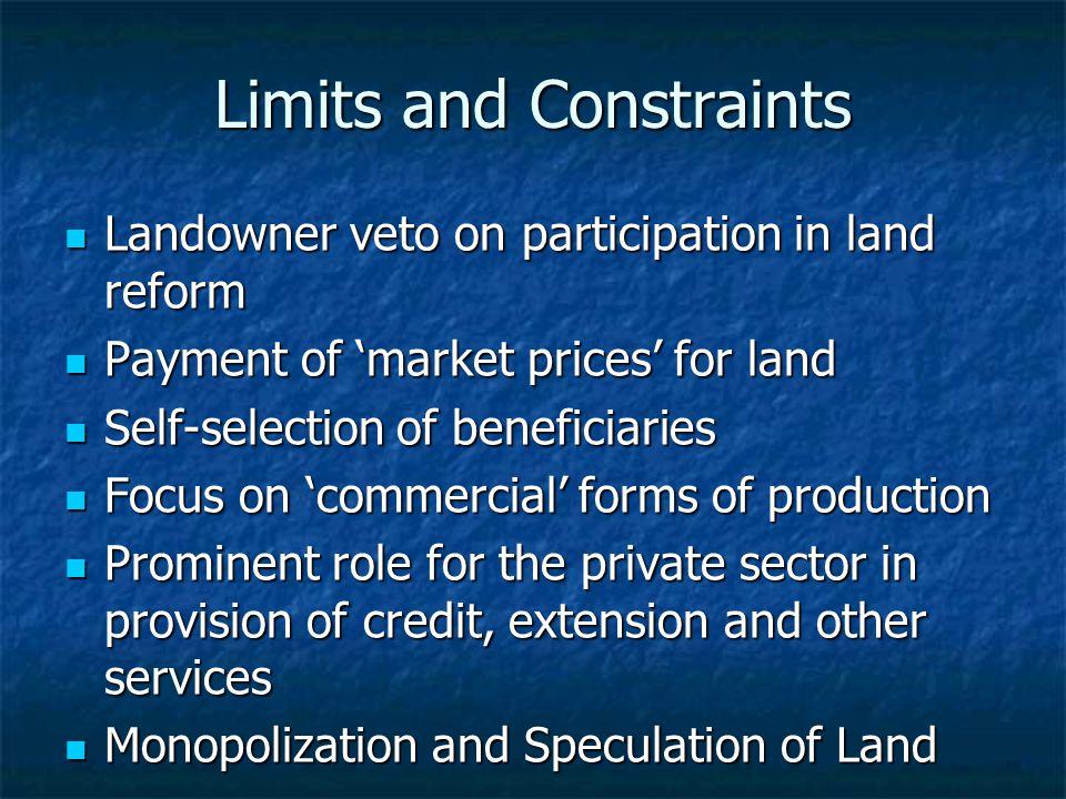 Limits and Constraints Landowner veto on participation in land reform Landowner veto on participation in land reform Payment of 'market prices' for la