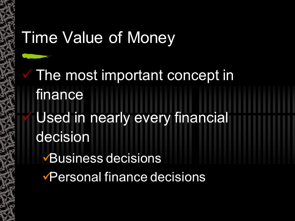 Time Value of Money The most important concept in finance Used in nearly every financial decision Business decisions Personal finance decisions