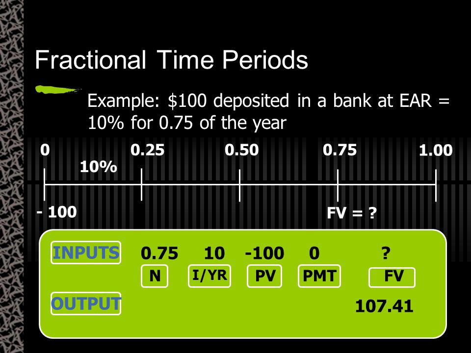 Fractional Time Periods 00.250.500.75 10% - 100 1.00 FV = ? Example: $100 deposited in a bank at EAR = 10% for 0.75 of the year INPUTS OUTPUT 0.75 10