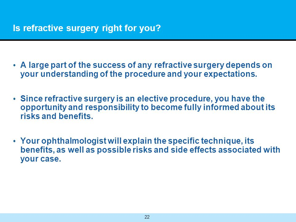 22 Is refractive surgery right for you.