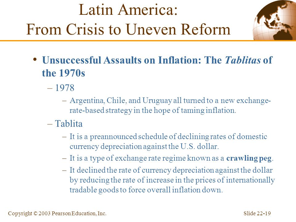 Slide 22-19Copyright © 2003 Pearson Education, Inc. Unsuccessful Assaults on Inflation: The Tablitas of the 1970s –1978 –Argentina, Chile, and Uruguay