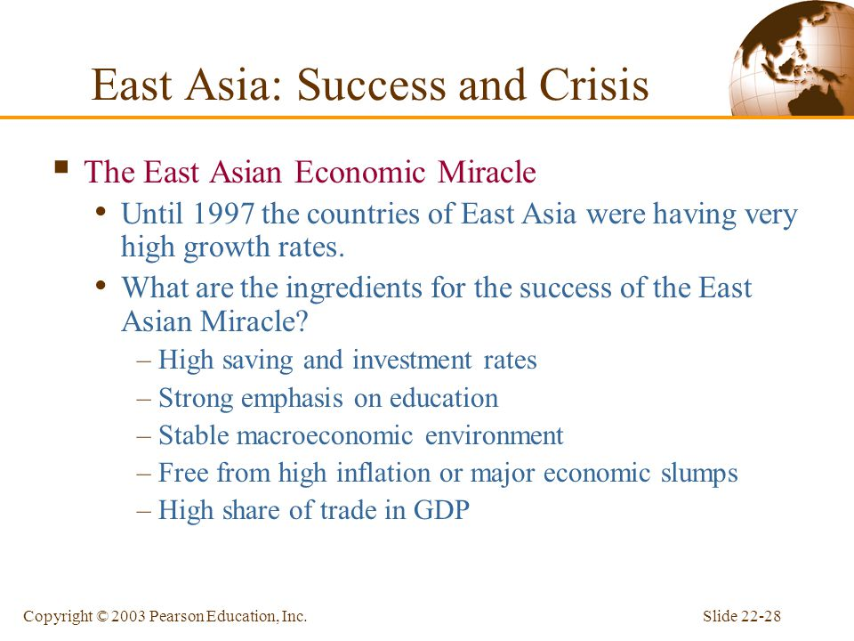 Slide 22-28Copyright © 2003 Pearson Education, Inc. East Asia: Success and Crisis  The East Asian Economic Miracle Until 1997 the countries of East A