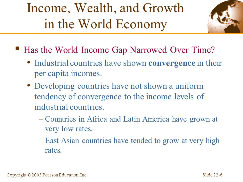 Slide 22-6Copyright © 2003 Pearson Education, Inc.  Has the World Income Gap Narrowed Over Time? Industrial countries have shown convergence in their