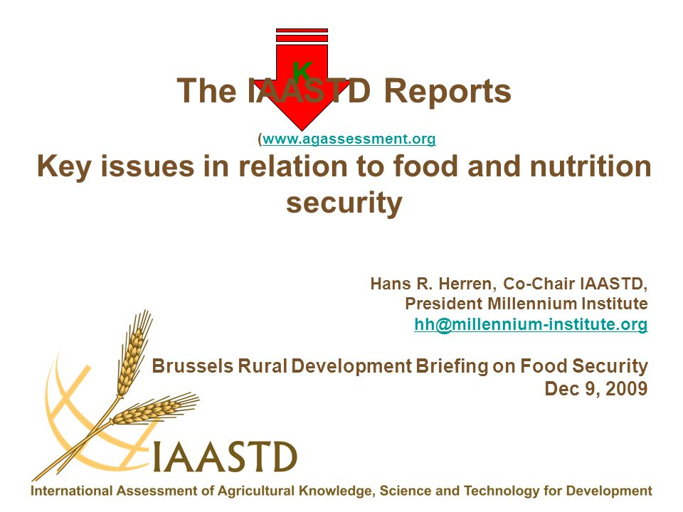 K The IAASTD Reports (www.agassessment.orgwww.agassessment.org Key issues in relation to food and nutrition security Hans R. Herren, Co-Chair IAASTD,