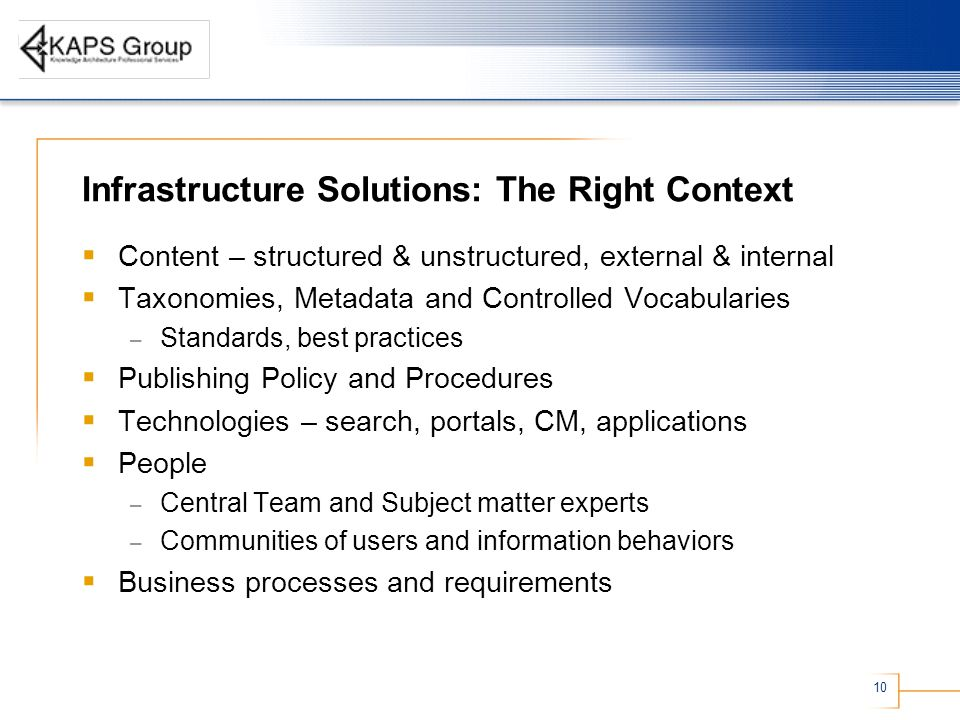 10 Infrastructure Solutions: The Right Context  Content – structured & unstructured, external & internal  Taxonomies, Metadata and Controlled Vocabularies – Standards, best practices  Publishing Policy and Procedures  Technologies – search, portals, CM, applications  People – Central Team and Subject matter experts – Communities of users and information behaviors  Business processes and requirements