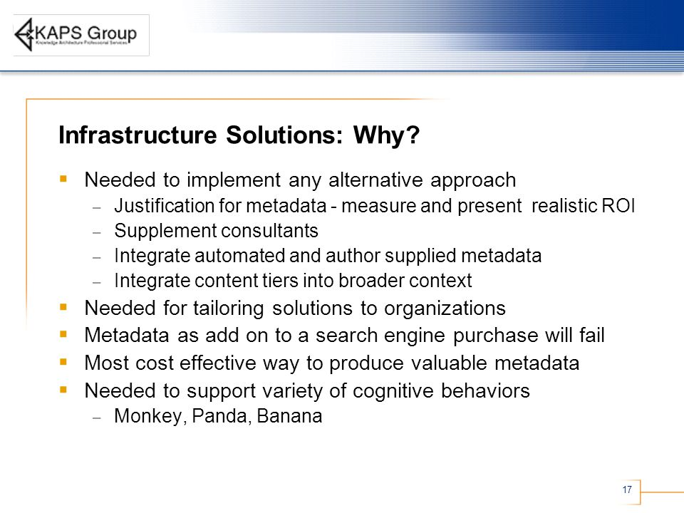 17 Infrastructure Solutions: Why.