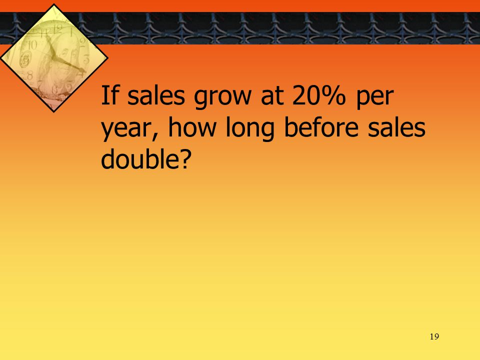 19 If sales grow at 20% per year, how long before sales double