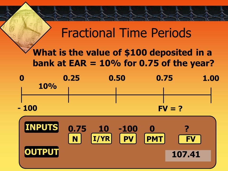 51 Fractional Time Periods 00.250.500.75 10% - 100 1.00 FV = .