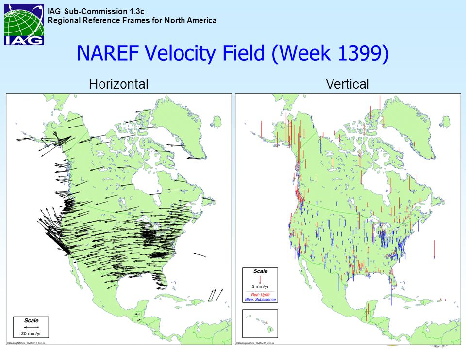 IAG Sub-Commission 1.3c Regional Reference Frames for North America NAREF Velocity Field (Week 1399) 6 HorizontalVertical