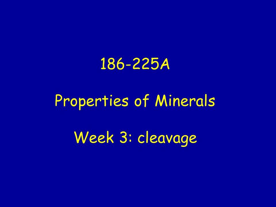 186-225A Properties of Minerals Week 3: cleavage