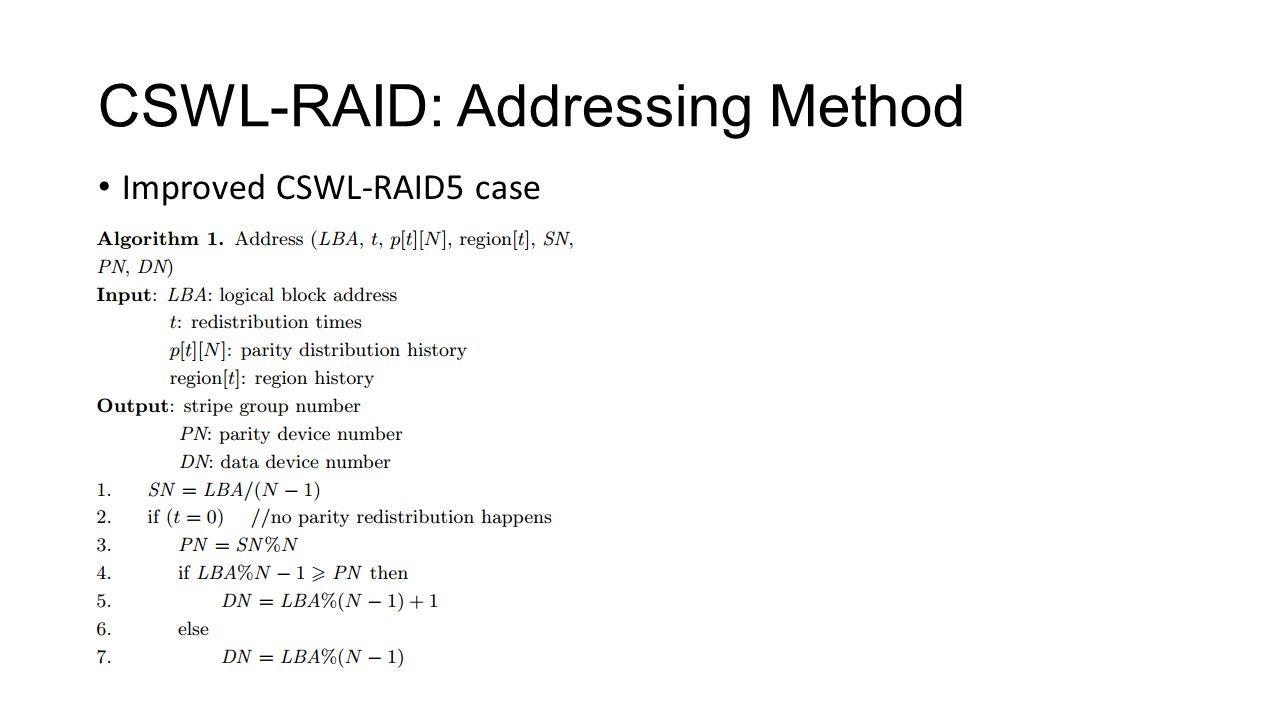 CSWL-RAID: Addressing Method Improved CSWL-RAID5 case
