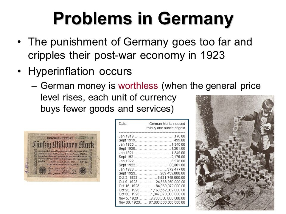 Problems in Germany The punishment of Germany goes too far and cripples their post-war economy in 1923 Hyperinflation occurs –German money is worthless (when the general price level rises, each unit of currency buys fewer goods and services)