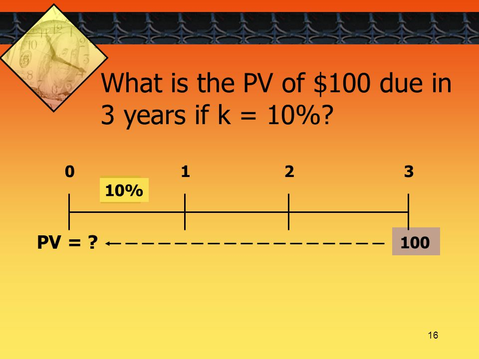 16 100 0123 10% PV = What is the PV of $100 due in 3 years if k = 10%