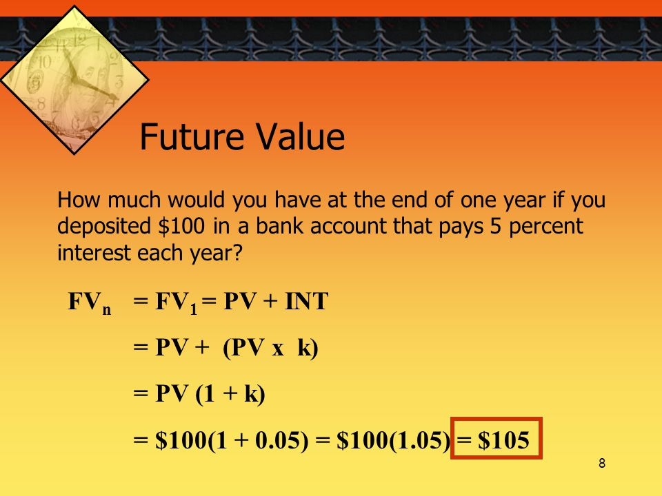 8 FV n = FV 1 = PV + INT = PV + (PV x k) = PV (1 + k) = $100(1 + 0.05) = $100(1.05) = $105 How much would you have at the end of one year if you deposited $100 in a bank account that pays 5 percent interest each year.