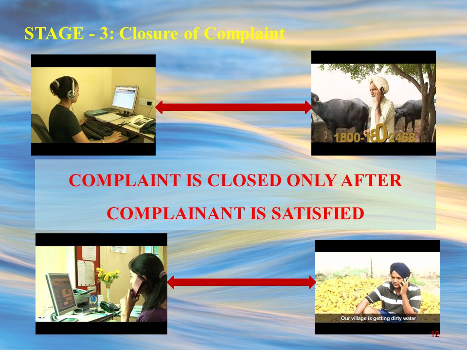 STAGE - 3: Closure of Complaint COMPLAINT IS CLOSED ONLY AFTER COMPLAINANT IS SATISFIED 12