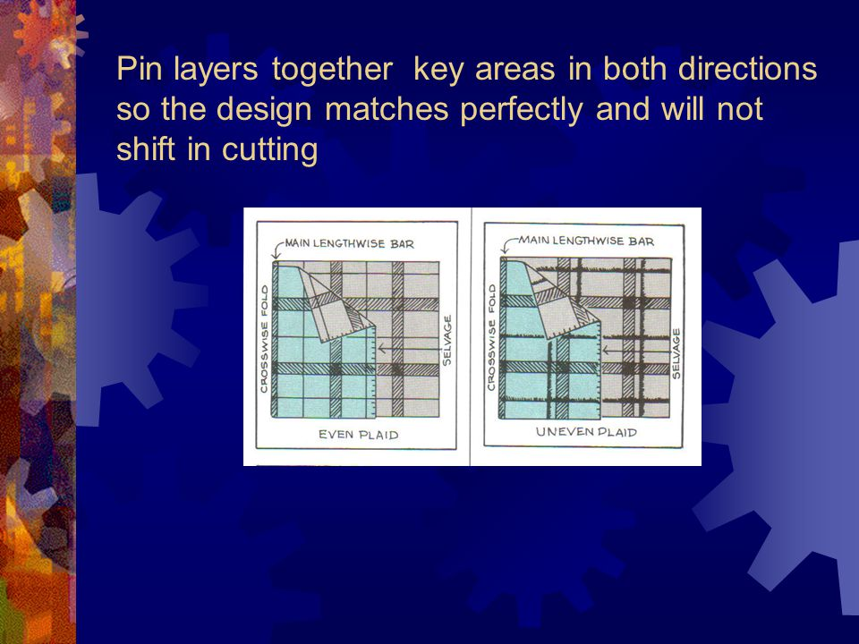 Pin layers together key areas in both directions so the design matches perfectly and will not shift in cutting