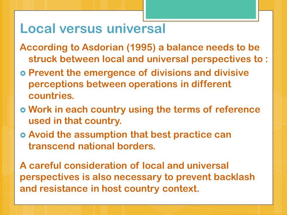 Tension between universal vs.
