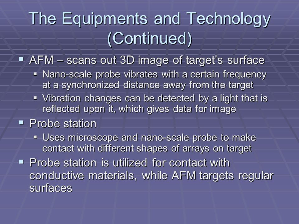  AFM – scans out 3D image of target's surface  Nano-scale probe vibrates with a certain frequency at a synchronized distance away from the target 