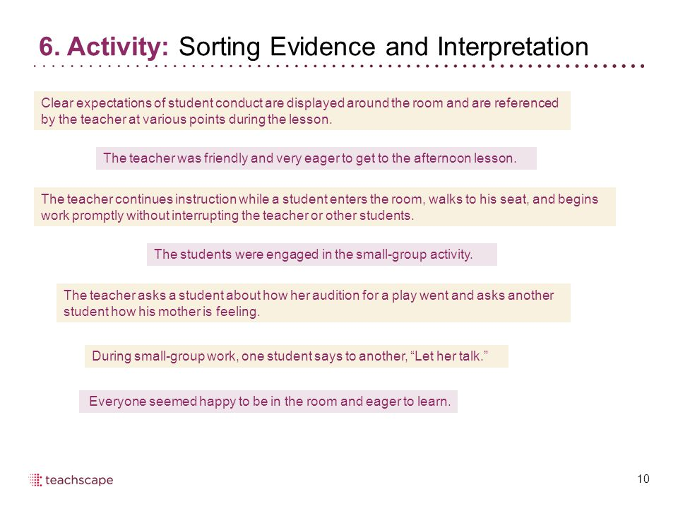6. Activity: Sorting Evidence and Interpretation 10 Clear expectations of student conduct are displayed around the room and are referenced by the teac