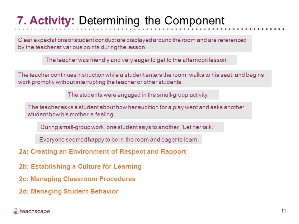 7. Activity: Determining the Component 11 2a: Creating an Environment of Respect and Rapport 2b: Establishing a Culture for Learning 2c: Managing Clas
