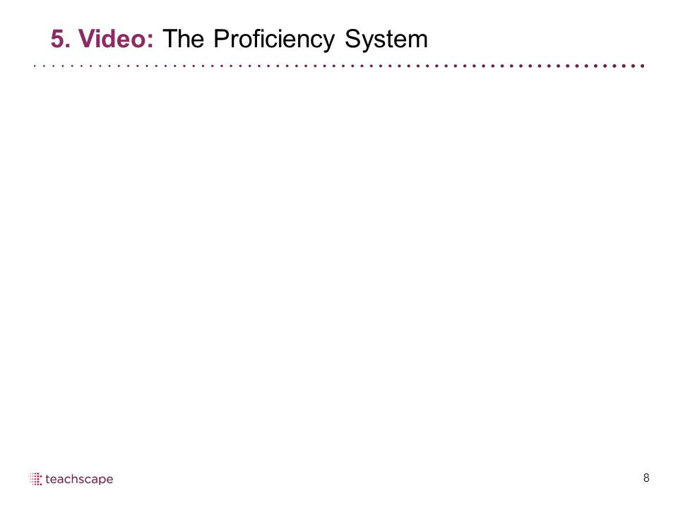 8 5. Video: The Proficiency System