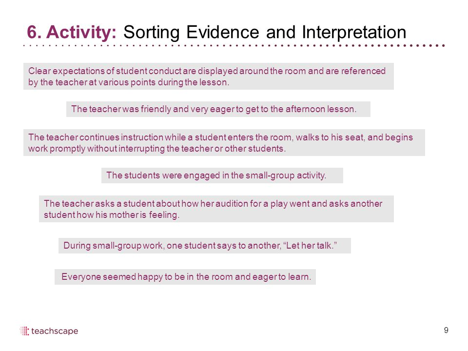 6. Activity: Sorting Evidence and Interpretation 9 Clear expectations of student conduct are displayed around the room and are referenced by the teach