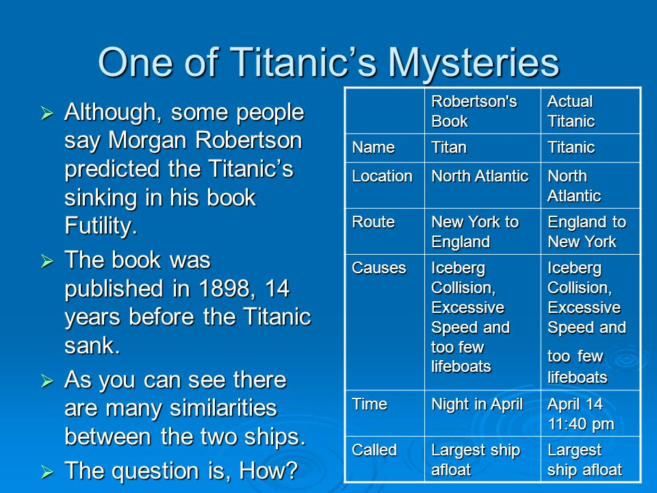 One of Titanic's Mysteries  Although, some people say Morgan Robertson predicted the Titanic's sinking in his book Futility.