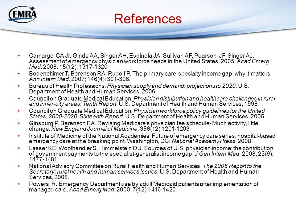 References Camargo, CA Jr. Ginde AA, Singer AH, Espinola JA, Sullivan AF, Pearson, JF, Singer AJ.
