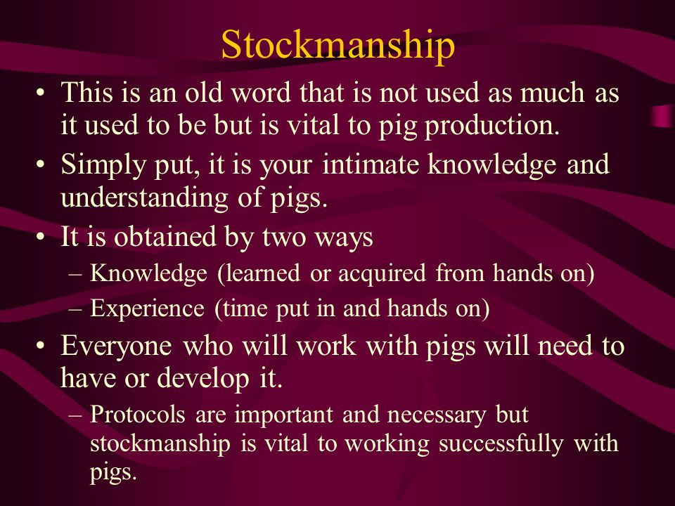 Stockmanship This is an old word that is not used as much as it used to be but is vital to pig production. Simply put, it is your intimate knowledge a