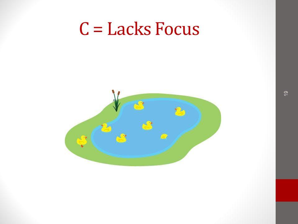 C = Lacks Focus 19