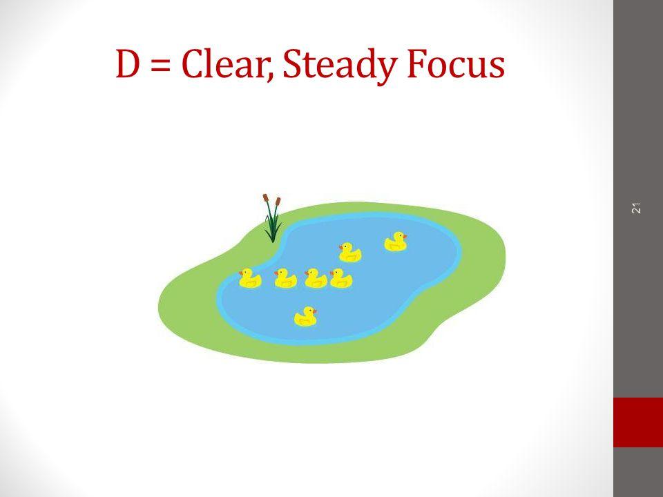 D = Clear, Steady Focus 21