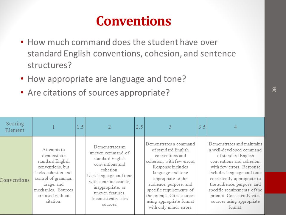 Conventions How much command does the student have over standard English conventions, cohesion, and sentence structures.