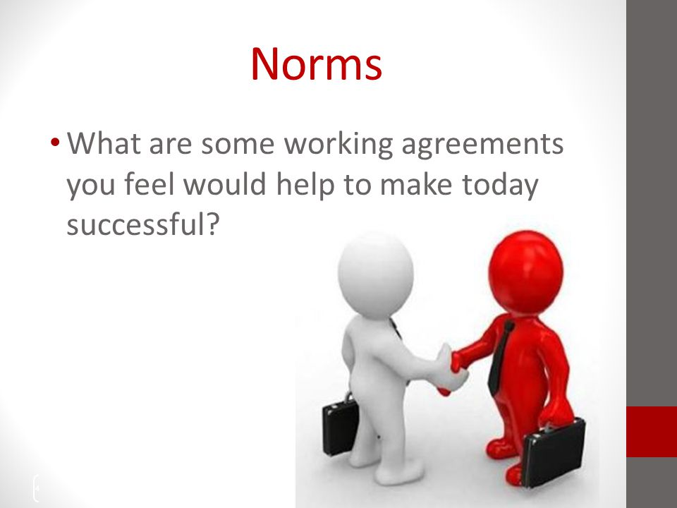 Norms What are some working agreements you feel would help to make today successful? 4