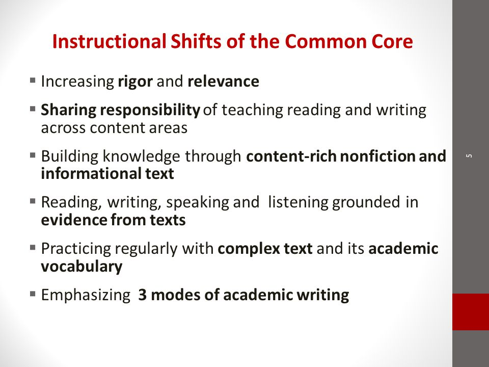 Instructional Shifts of the Common Core  Increasing rigor and relevance  Sharing responsibility of teaching reading and writing across content areas  Building knowledge through content-rich nonfiction and informational text  Reading, writing, speaking and listening grounded in evidence from texts  Practicing regularly with complex text and its academic vocabulary  Emphasizing 3 modes of academic writing 5