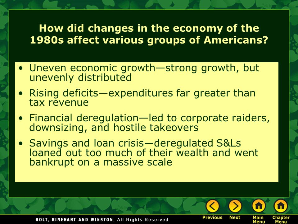 How did changes in the economy of the 1980s affect various groups of Americans.