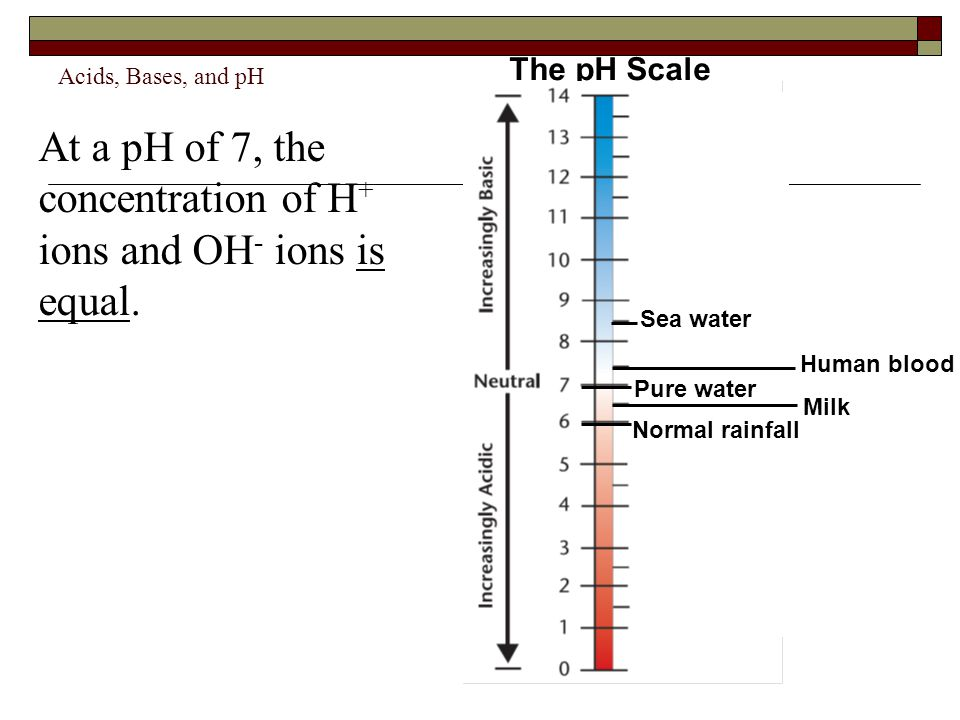 Acids, Bases, and pH At a pH of 7, the concentration of H + ions and OH - ions is equal. The pH Scale Human blood Milk Sea water Normal rainfall Pure