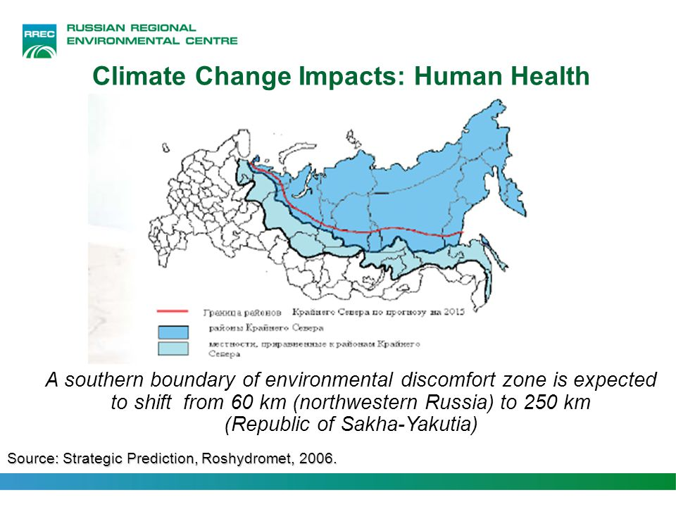 Climate Change Impacts: Human Health A southern boundary of environmental discomfort zone is expected to shift from 60 km (northwestern Russia) to 250 km (Republic of Sakha-Yakutia) Source: Strategic Prediction, Roshydromet, 2006.