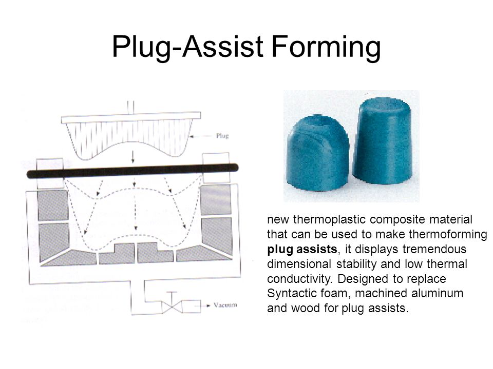 new thermoplastic composite material that can be used to make thermoforming plug assists, it displays tremendous dimensional stability and low thermal