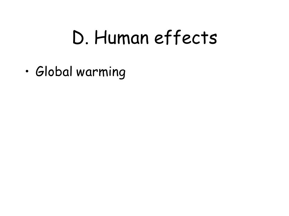 D. Human effects Global warming