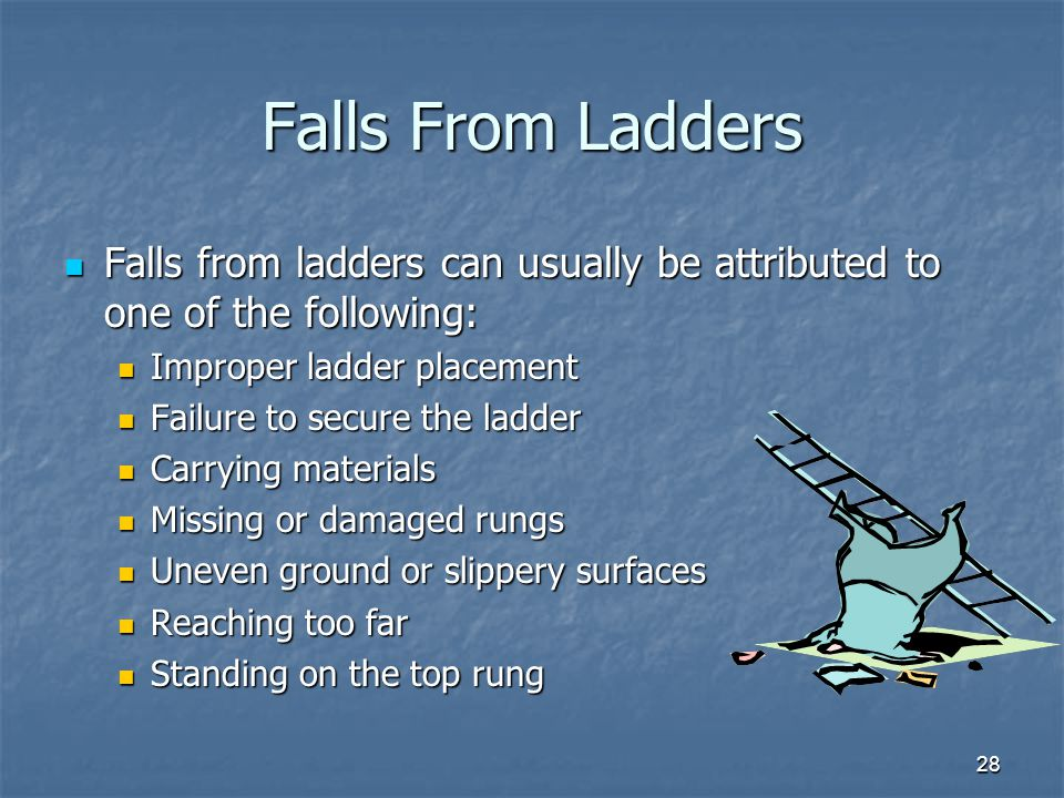 28 Falls From Ladders Falls from ladders can usually be attributed to one of the following: Falls from ladders can usually be attributed to one of the following: Improper ladder placement Improper ladder placement Failure to secure the ladder Failure to secure the ladder Carrying materials Carrying materials Missing or damaged rungs Missing or damaged rungs Uneven ground or slippery surfaces Uneven ground or slippery surfaces Reaching too far Reaching too far Standing on the top rung Standing on the top rung