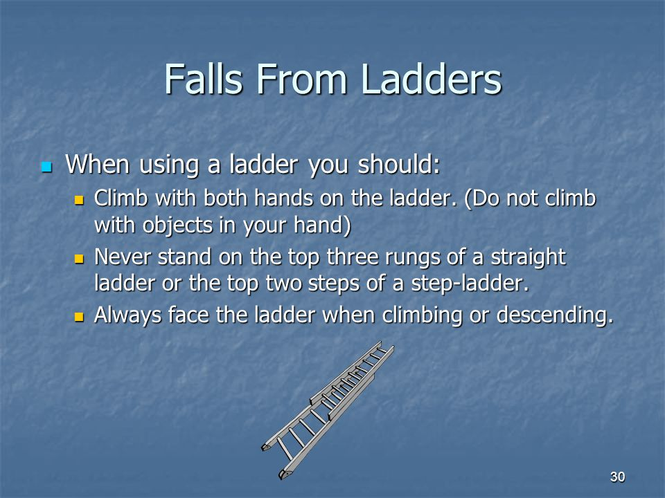 30 Falls From Ladders When using a ladder you should: When using a ladder you should: Climb with both hands on the ladder.
