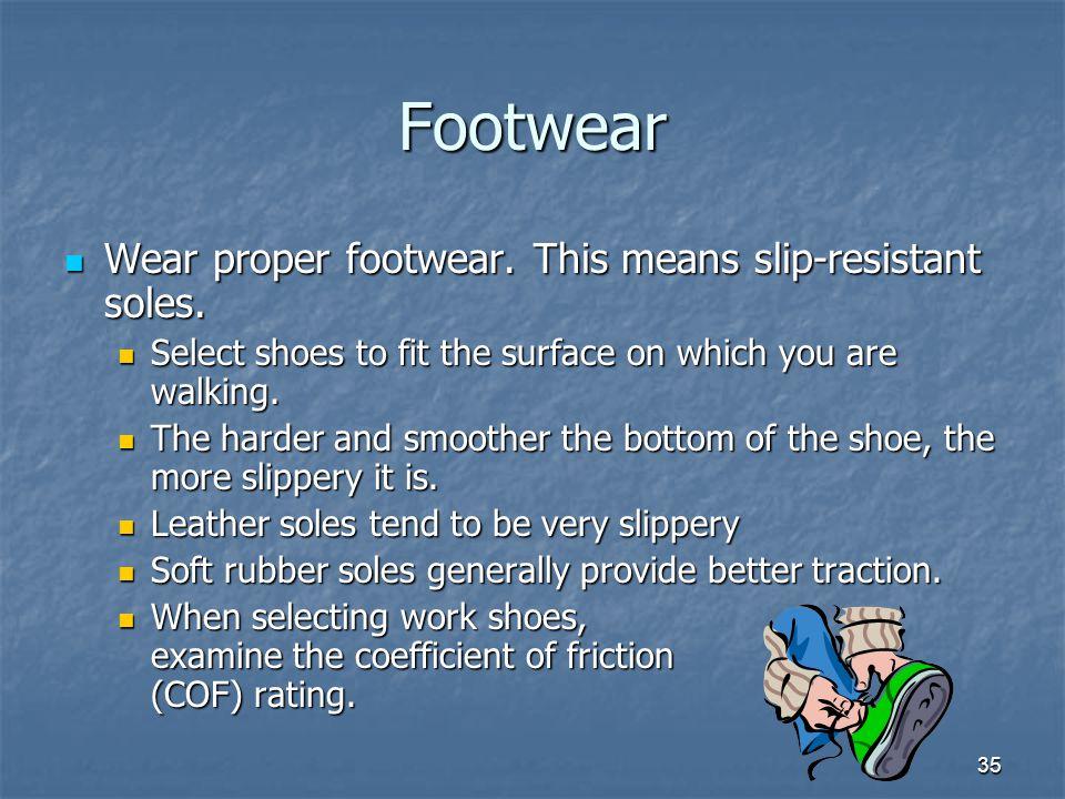 35 Footwear Wear proper footwear.This means slip-resistant soles.