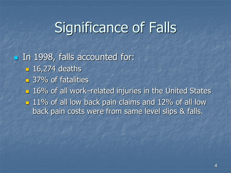 4 Significance of Falls In 1998, falls accounted for: In 1998, falls accounted for: 16,274 deaths 16,274 deaths 37% of fatalities 37% of fatalities 16% of all work–related injuries in the United States 16% of all work–related injuries in the United States 11% of all low back pain claims and 12% of all low back pain costs were from same level slips & falls.