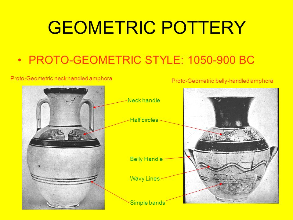 GEOMETRIC POTTERY PROTO-GEOMETRIC STYLE: 1050-900 BC Proto-Geometric belly-handled amphora Proto-Geometric neck handled amphora Neck handle Belly Handle Half circles Simple bands Wavy Lines