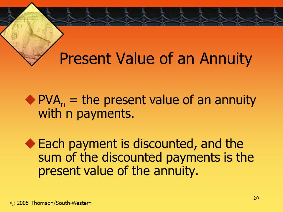 20 © 2005 Thomson/South-Western Present Value of an Annuity  PVA n = the present value of an annuity with n payments.  Each payment is discounted, a