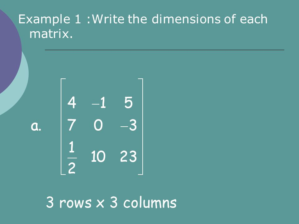 Example 1 :Write the dimensions of each matrix. 3 rows x 3 columns