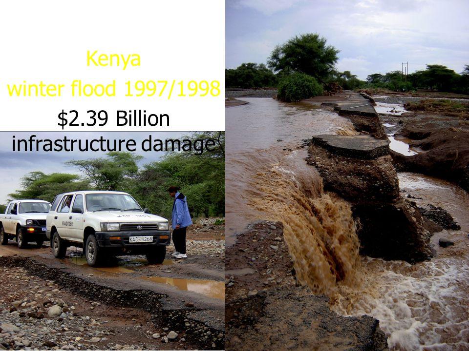 Kenya winter flood 1997/1998 $2.39 Billion infrastructure damage